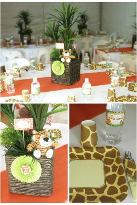 Boys Safari Themed First Birthday Party -- Table Decoration Ideas www.spaceshipsandlaserbeams.com