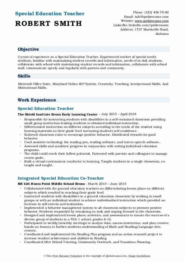 Special Education Teacher Skills Resume Printable Resume Template Special Education Teacher Teacher Resume Special Education
