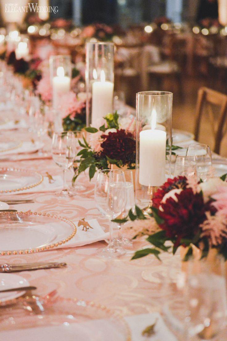 Burgundy and Gold Wedding Flowers and Decor www.elegantwedding.ca