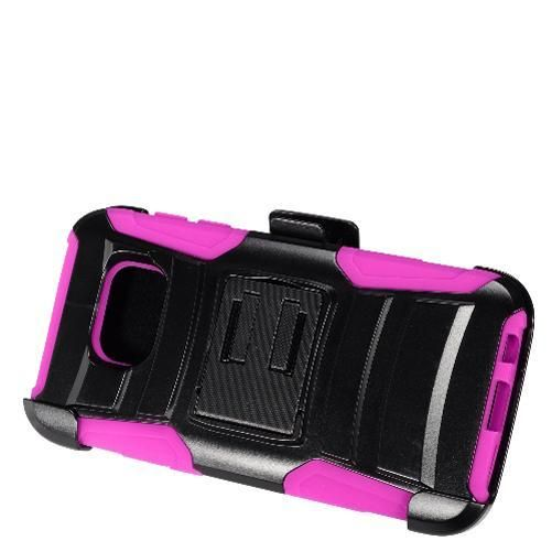 Samsung Galaxy S7 Black + Black + Hot Pink Robotic Case 2 w/ Holster