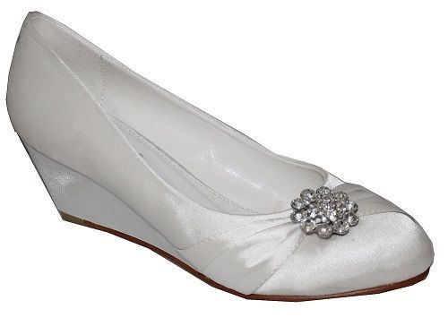 NEW WOMENS LADIES IVORY BRIDAL DIAMANTE WEDDING EVENING BRIDESMAID WEDGE SHOES £21.99