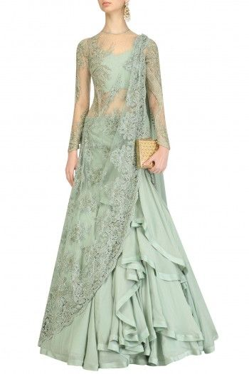 Gaurav Gupta  Apple Green Embroidered Lehenga Sari  #happyshopping #shopnow #ppus
