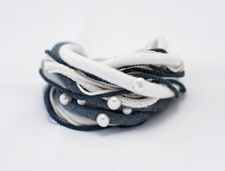 DOUBLE JOY Bracelet - Ink Blue & Cream Cotton and Freshwater Pearl