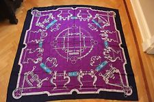 HERMES Mors et Gourmettes Remix Marine Violet Turquoise Cashmere and Silk Shawl