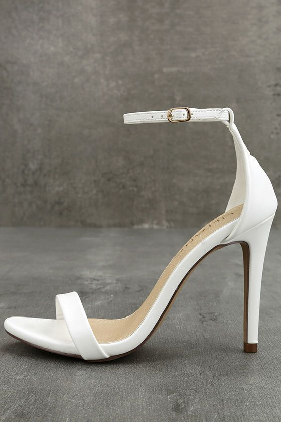 5fe1dfd7af8 We crown the Queena White Ankle Strap Heels ruler of all things chic! White  vegan leather is molded to a timeless single sole silhouette with slend…