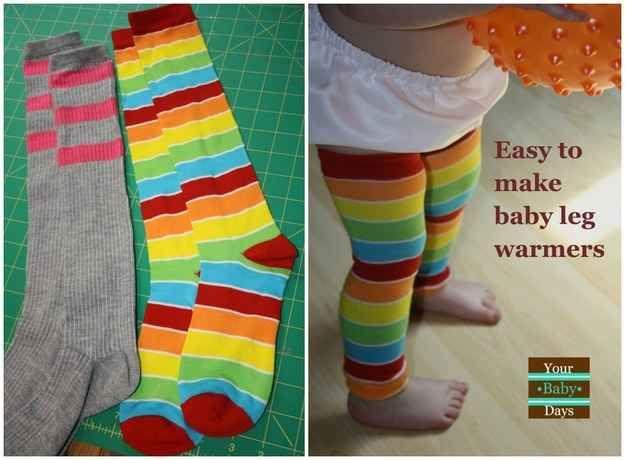 DIY tube socks into super-cute baby leg warmers.