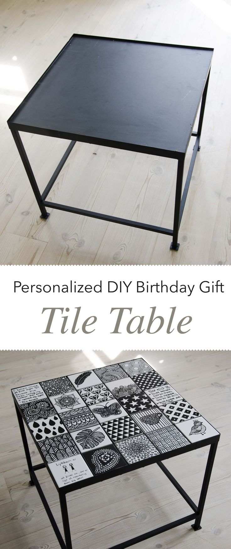 Personalized diy birthday gift tile table mom