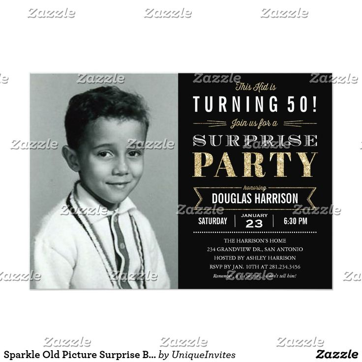 Sparkle Old Picture Surprise Birthday Invitations 47