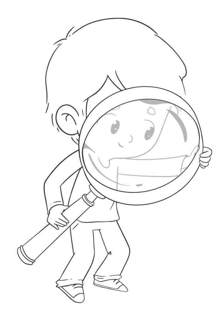 Dibujos Gratis Para Colorear Dibustock Ilustraciones Infantiles De Stock In 2020 Magnifying Glass Coloring Pages Drawings