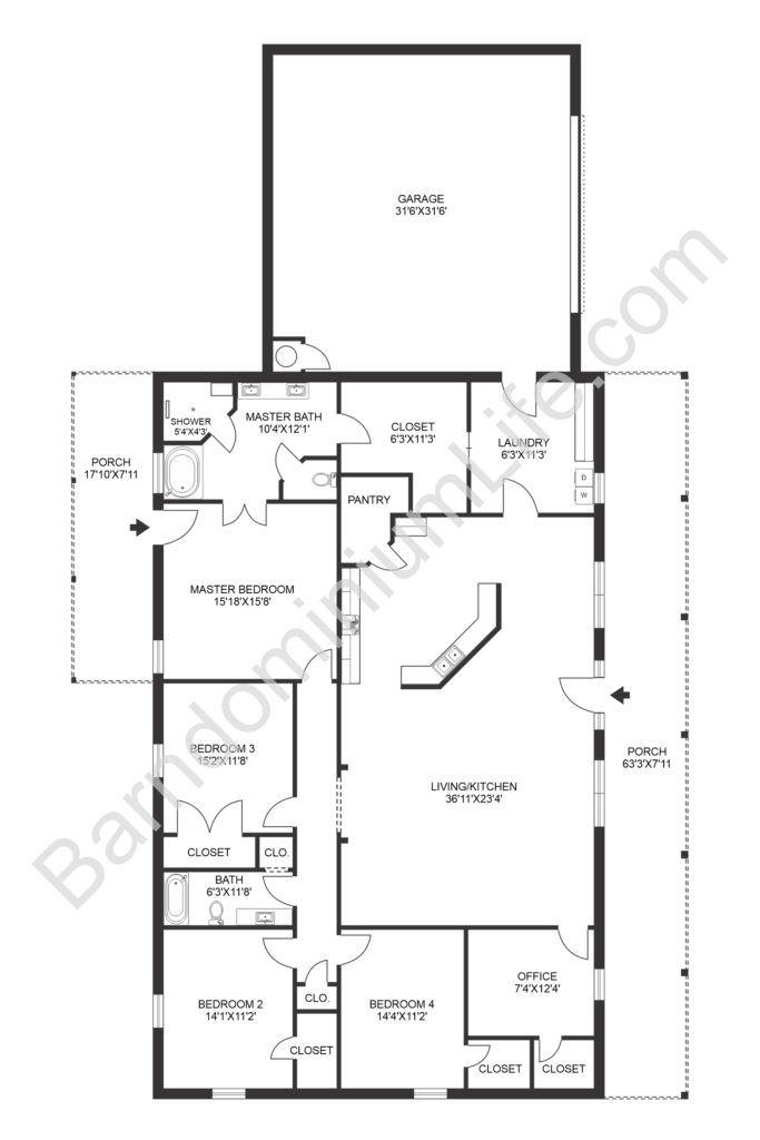 8 Inspiring Barndominium Floor Plans With Garage In 2020 Barndominium Floor Plans Barn Homes Floor Plans New House Plans