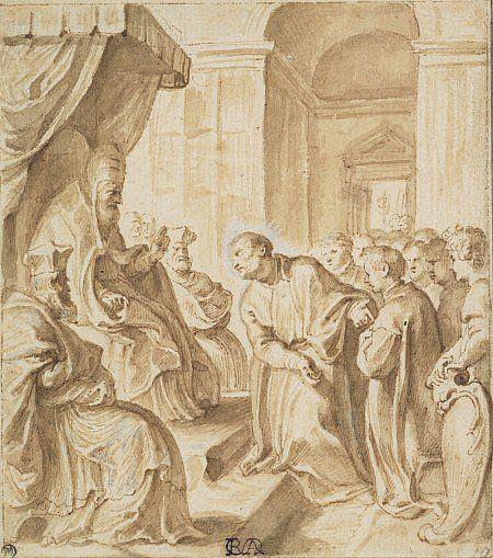 Peter Paul Rubens:Saint Ignatius Pleading Before Pope Julius III for the Establishment of a German Jesuit College in Rome, About 1606 - 1608.