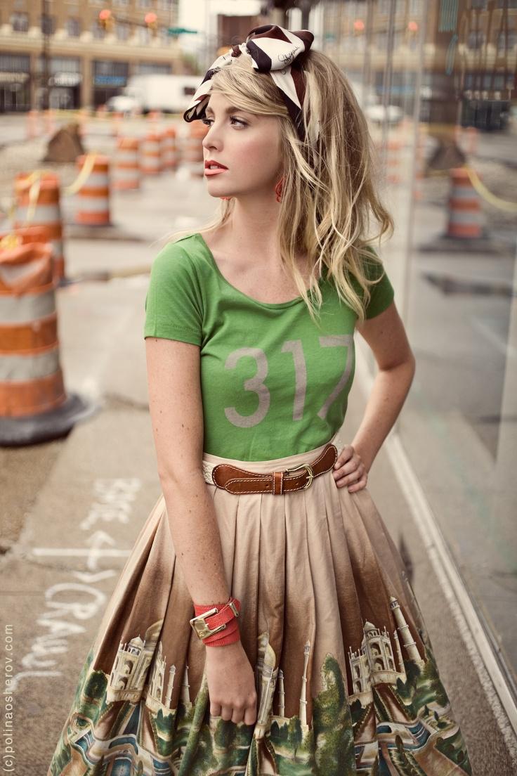 love the mix of tomboy tee + feminine skirt
