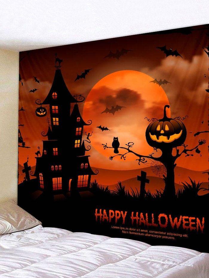 Halloween Castle Moon Print Tapestry Wall Art | Spooky spooky ...