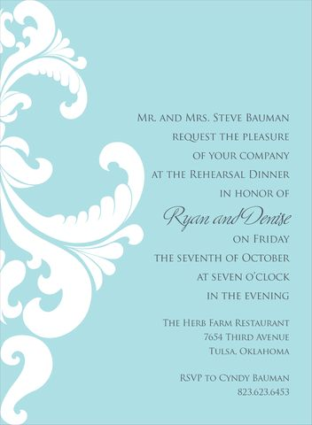 This contemporary flat white rehearsal dinner invitation features a bali blue background with a white ornate damask design on the left side.  Includes white unlined envelopes.