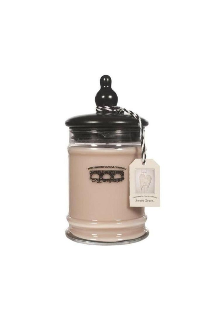 Sweet Grace is Bridgewater Candle's best selling scent. When lit it smells of passionate fruits radiating with sparkling tea and classic patchouli. It is 8 ounces and has up to a 70 hour burn time. A sleek, clear jar with a stylish, black lid, ensures that it'll match any room! For each candle Bridgewater Candle Company sells, they provide three meals to a child in need.   Sweet Grace Candle by Bridgewater Candle Company. Home & Gifts - Home Decor - Candles & Scents Los Angeles, California