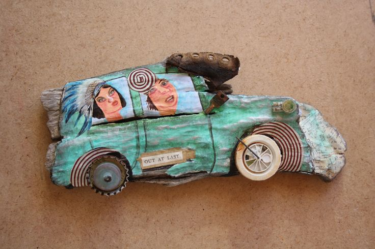 'The Old Jalopy'. Acrylic and mixed media on driftwood sculpture with found objects. 2015