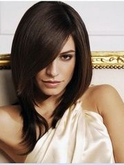 Glamorous Lady Hairstyle Medium Straight about 16 Inches Dark Brown Natural Lace Wig