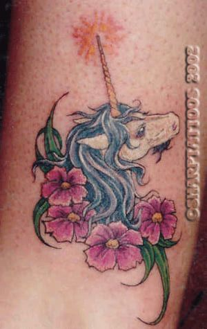 Sci-Fi and Fantasy Tattoo Gallery: Unicorn and Flowers Tattoo