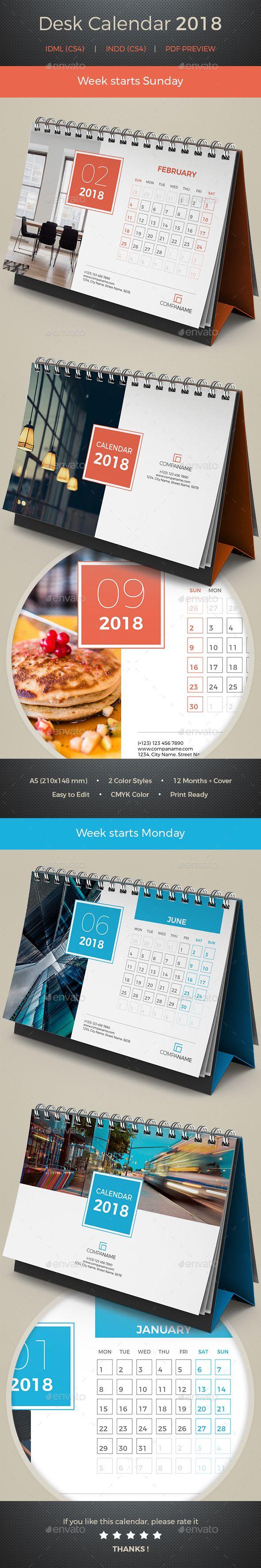 Desk Calendar 2018 - #Calendars #Stationery Download here: https://graphicriver.net/item/desk-calendar-2018/20308814?ref=alena994