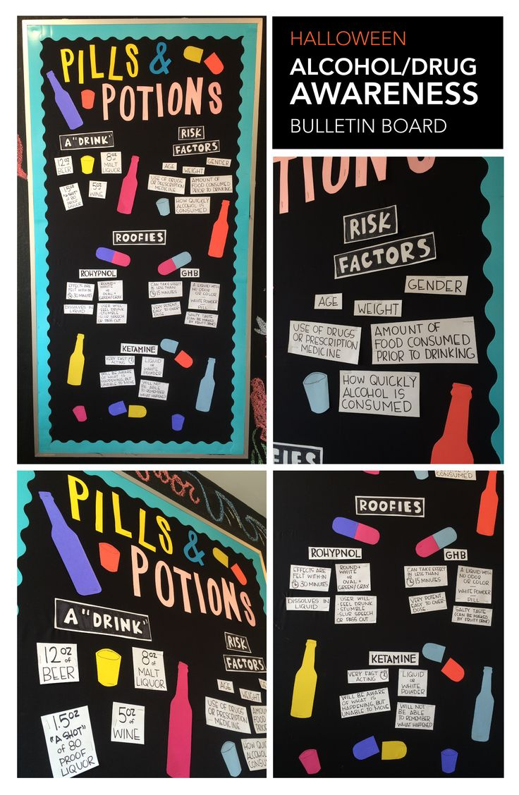 This is a Halloween Alcohol and Drug Awareness Bulletin Board for College Students. It is outside of an elevator, so the facts are short and sweet to read quickly.
