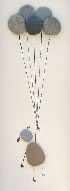 Dit leuke en eigenzinnige beeld van een klein meisje drijvende weg onder een handvol ballonnen is gemaakt met steentjes die ik verzameld op de oevers van Lake Michigan terwijl de camping er met mijn familie. De afbeelding is getiteld Up, up and away... Deze aanbieding is voor een one-of-a-kind strand pebble afbeelding, niet afdrukken of foto! De keien zijn goed aangesloten op het bord van de vertoning met behulp van een krachtige lijm. De display-mat is een gebroken wit/crème schaduw, en…