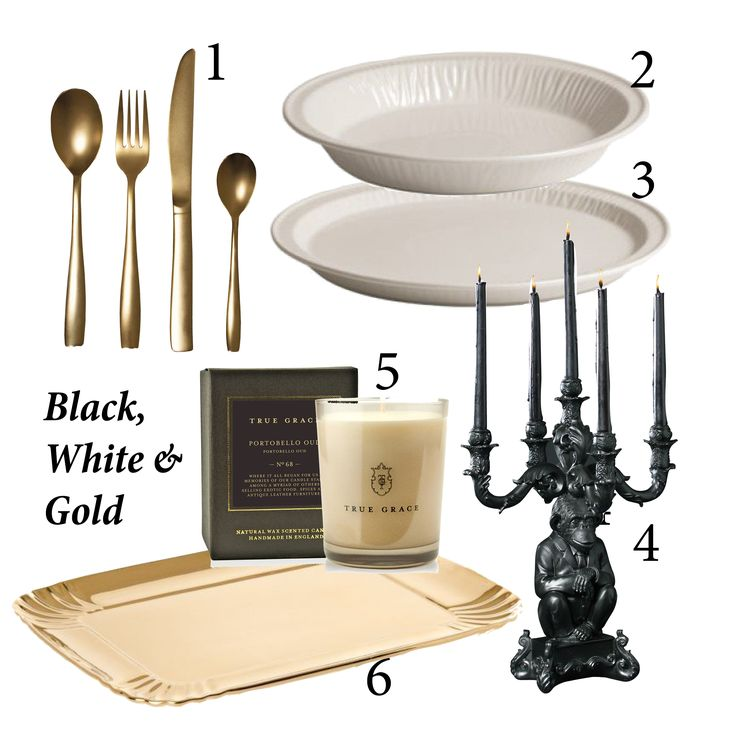 MONDAY MIX: Black, White & Gold. 1. Seletti Midas Cutlery Set, R4441 2. Seletti Estetico Quotidiano soup bowl, R374 3. Seletti Estetico Quotidiano dinner plate, R397 4. Burlesque Wise Chimp candelabra in black, R5100 5.True Grace Portobello Oud scented candle 6. Seletti Limited Edition gold tray, R1456.92. All exclusive to Generation. We can courier items to anywhere in South Africa, email info1@generationdesign.co.za to order.