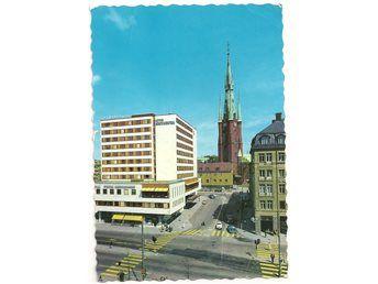 Vykort stockholm klara kyrka och hotel continental gamla bilar i bild