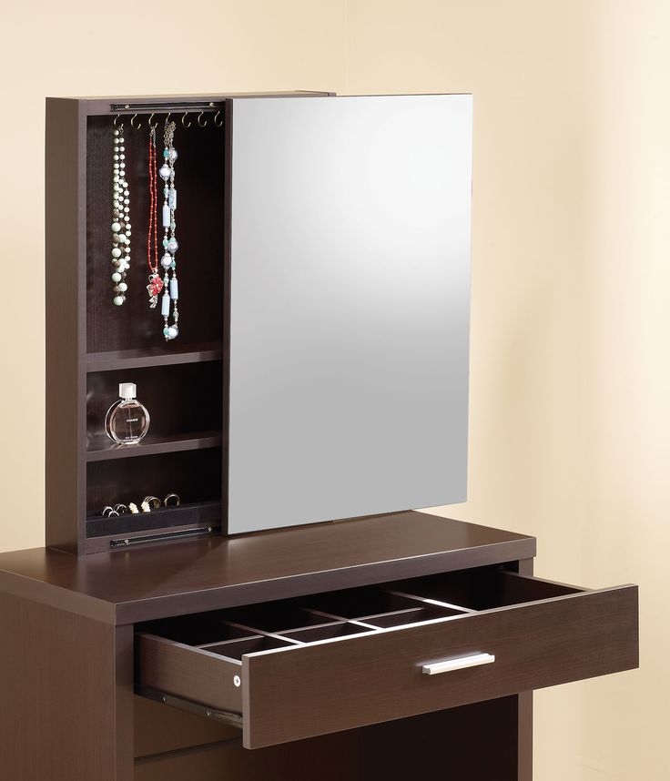 Charming Espresso Vanity Bedroom With Single Drawer For Jewellery Store And Cool Mirror Hidden