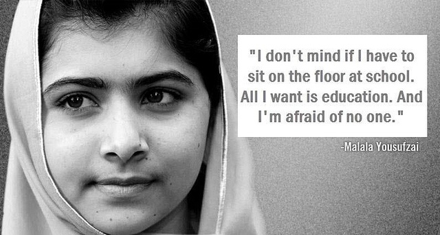 Malala-brave 14 year old girl fighting for the rights of girls to have an education in Pakistan-shot and wounded by the Taliban-good news update. She was released from a London hospital yesterday...