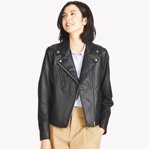 UNIQLO Women's Synthetic Leather Riders Jacket ($40) ❤ liked on Polyvore featuring outerwear, jackets, black, uniqlo jacket, fake leather jacket, vegan leather moto jacket, vegan biker jacket and zip pocket jacket