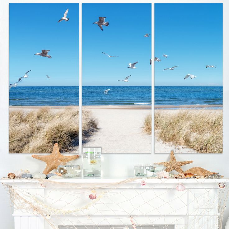 Beach with Seagulls in Rugen Island - Seashore Canvas Wall Artwork by DESIGN ART