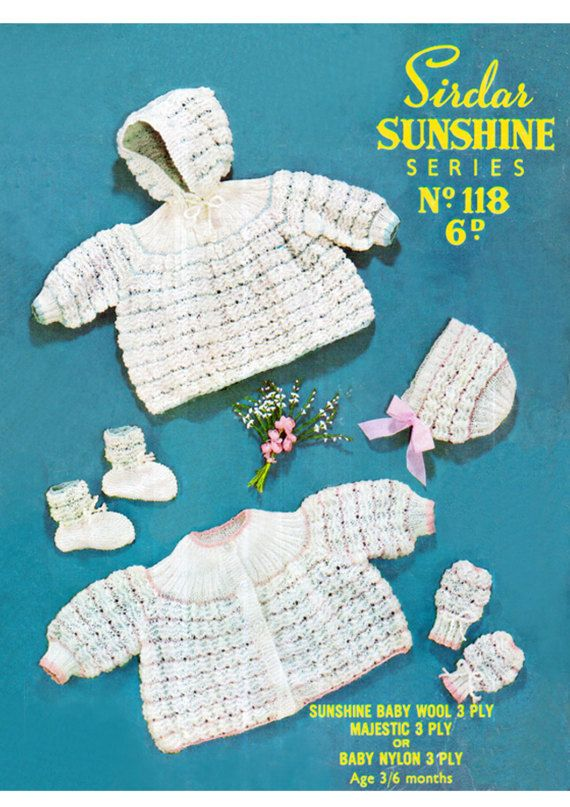 PDF Vintage Baby Knitting Pattern Sirdar 118 Sunshine Series