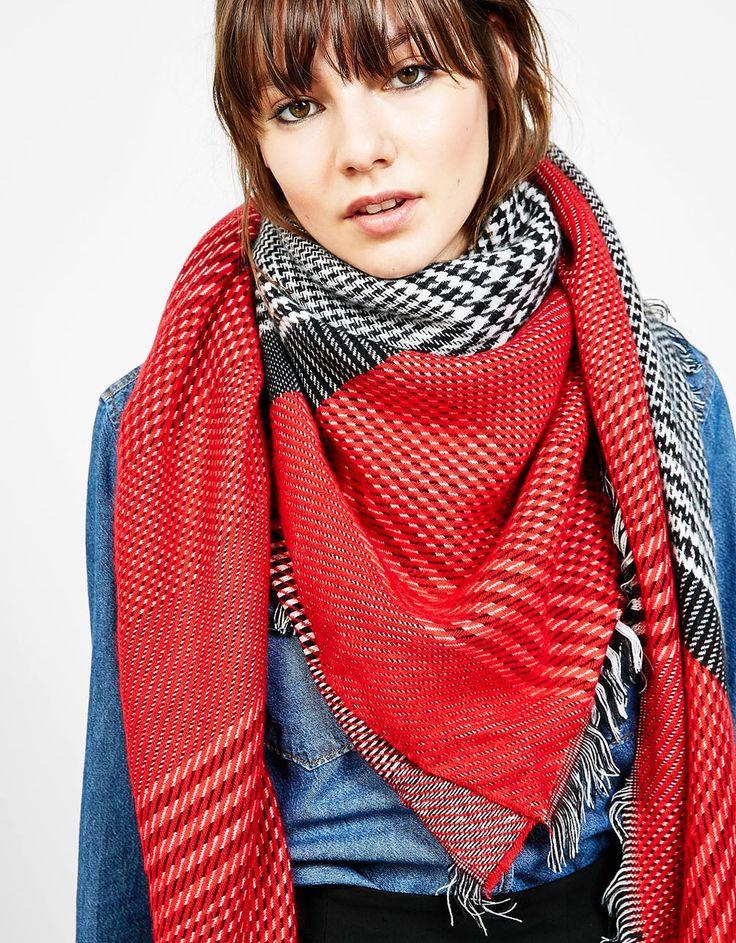 Houndstooth scarf - Accessories - Bershka United Kingdom