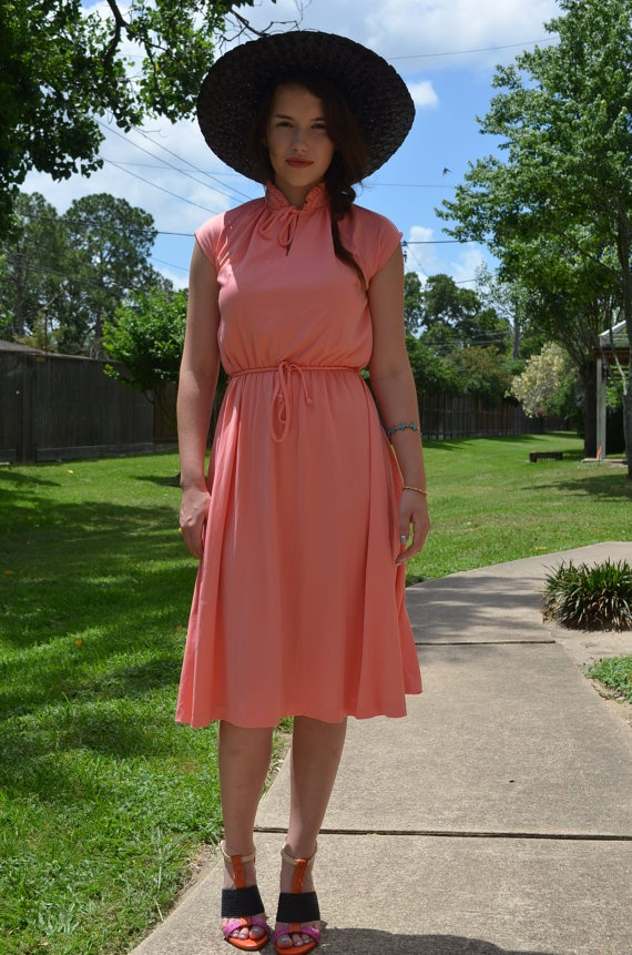 Vintage salmon dress by ArricAfton on Etsy, $40.00