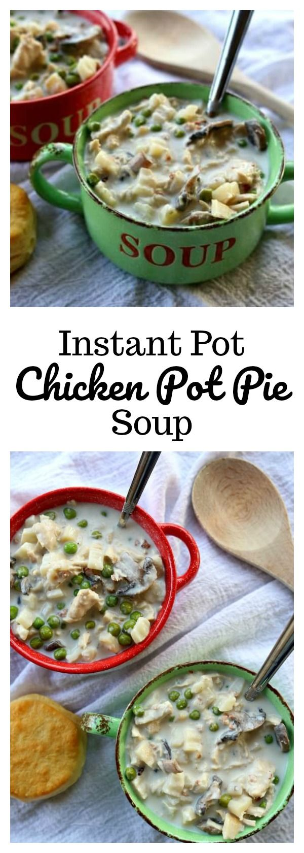 Instant Pot Chicken Pot Pie Soup–all the flavors from chicken pot pie in a soup! This super easy recipe is made in minutes in your electric pressure cooker. It can be made with raw chicken or leftover cooked turkey or chicken. Serve the soup topped with a biscuit to make it feel like the crust of a pot pie.