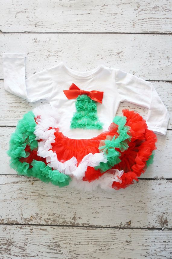 Christmas Baby Outfit SALE Girls Christmas Dress by PoshPeanutKids