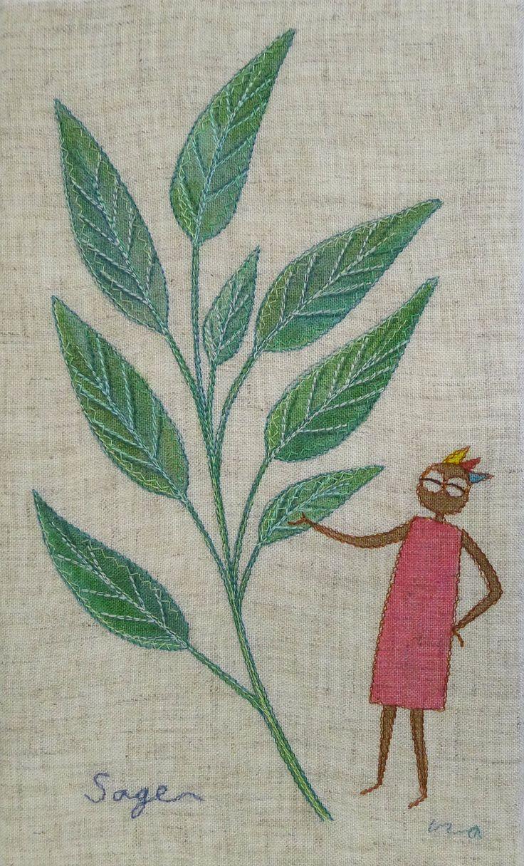 """herb no.2 """"sage"""" needlework illustration Ⓒ Nagako Ono HAPPa_Ya #embroidery #herbs"""