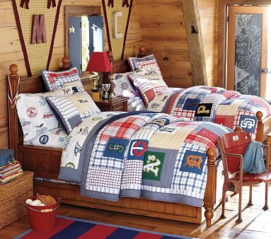 Love the boyish look of this room for the twins...not so predictably identical, yet the beds match