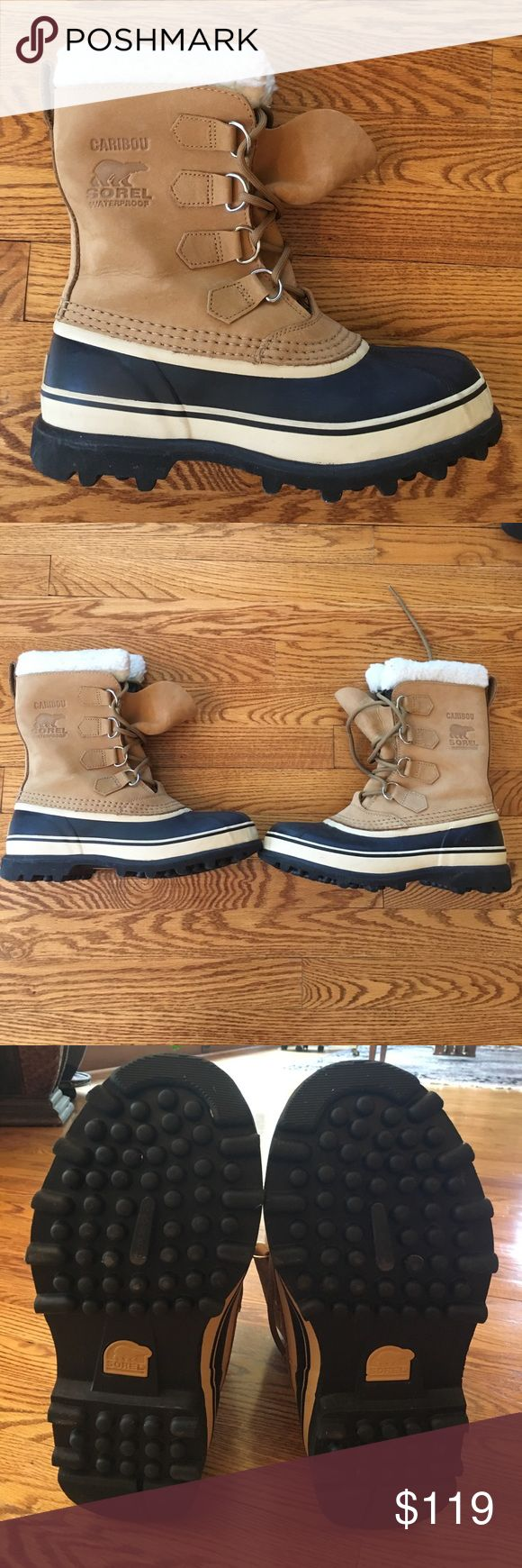 Sorel Women's Caribou Heavy Winter Boots Size 8.5 Extreme Cold Waterproof Caribou Sorel Boots. Felt inside, Leather/Rubber outside with a heavy tread. Only worn one time. No damage to the shoe. You're feet will never be cold wearing these! Sorel Shoes Winter & Rain Boots