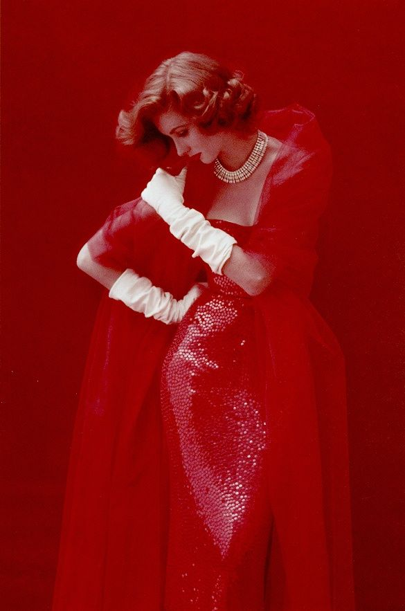 Lady in red:  Life Magazine 1952 , Dress by Norman Norell