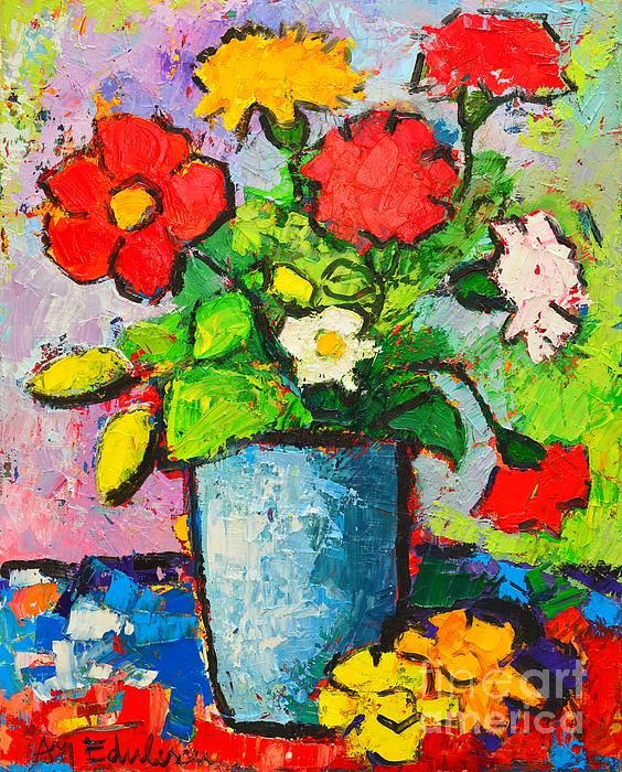 Vibrantly Colourful Highly Textured Palette Knife Oil Painting On Stretched Canvas 40 X 50 Cm Inches Displaying An Abstracted Bouquet Of Flowers
