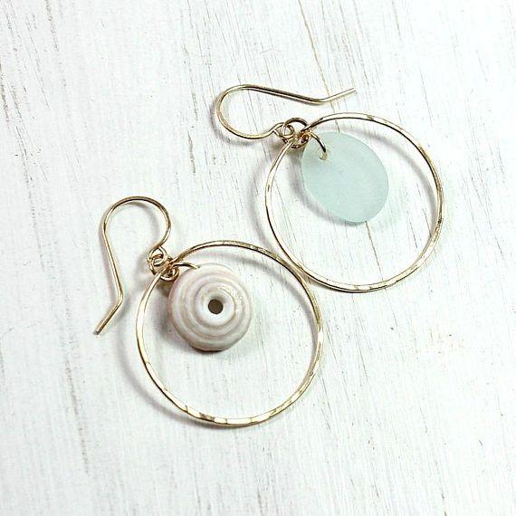 Mismatched Sea Glass Earrings Gold Hoop Everyday Earrings