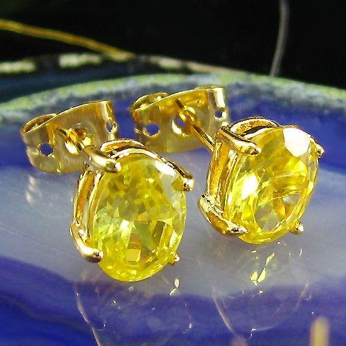 Cercei ovali placati cu aur galben 18k cu topaz galben