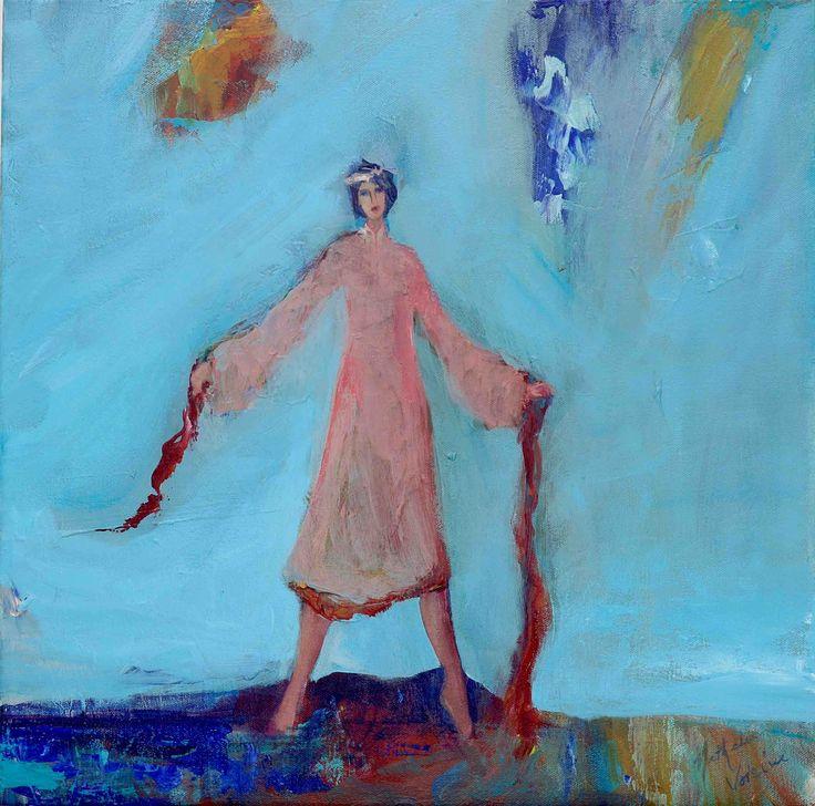 "Nathalie Voisine. La vie en rose. Acrylic on Canvas. 18x18""."