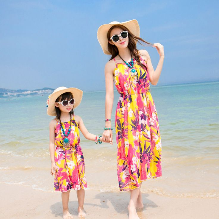 2017 summer beach dress family look girl and mother dress matching mother daughter dresses women floral maxi dress mommy and me