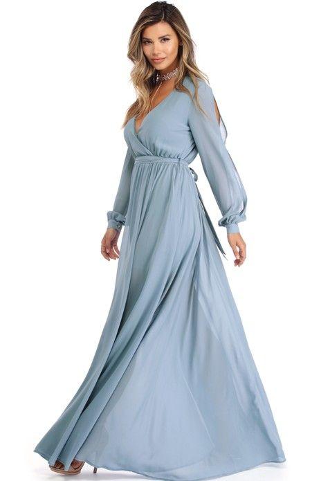 99fb501d58a3 Audrina Light Blue Long Sleeve Chiffon Dress | WindsorCloud | long ...