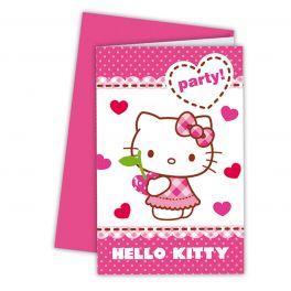 Hello Kitty Uitnodigingen, 6st.
