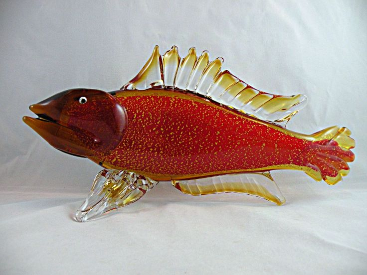 """Chinese fish, almost 13"""" long. Has a contemporary """"Cristalleria d'arte Murano"""" label. This is a giveaway that the glass is Chinese. I found fish with heads like this and various decorations from the Guangdong Province."""