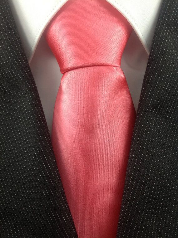 pink coral wedding neckties by thenecktieshop on etsy 1299 but grey suit instead of black all things wedding pinterest