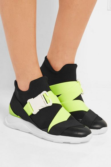 White rubber sole measures approximately 20mm/ 1 inch Black neoprene and leather, neon-lime elastic and rubber Buckle-fastening strap As seen in THE EDIT magazine